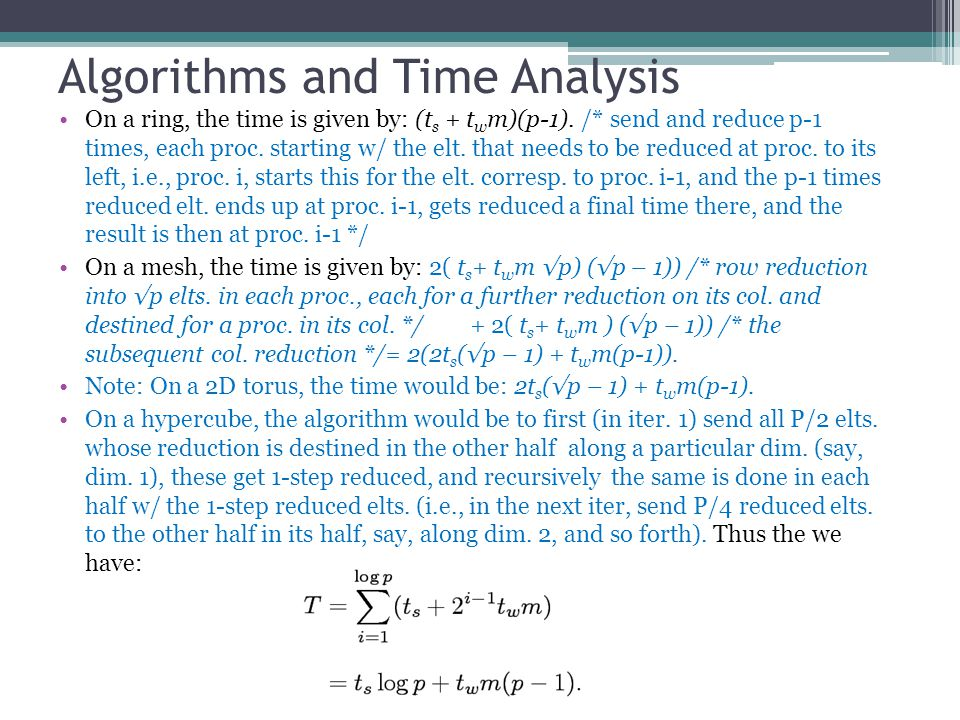 Algorithms and Time Analysis