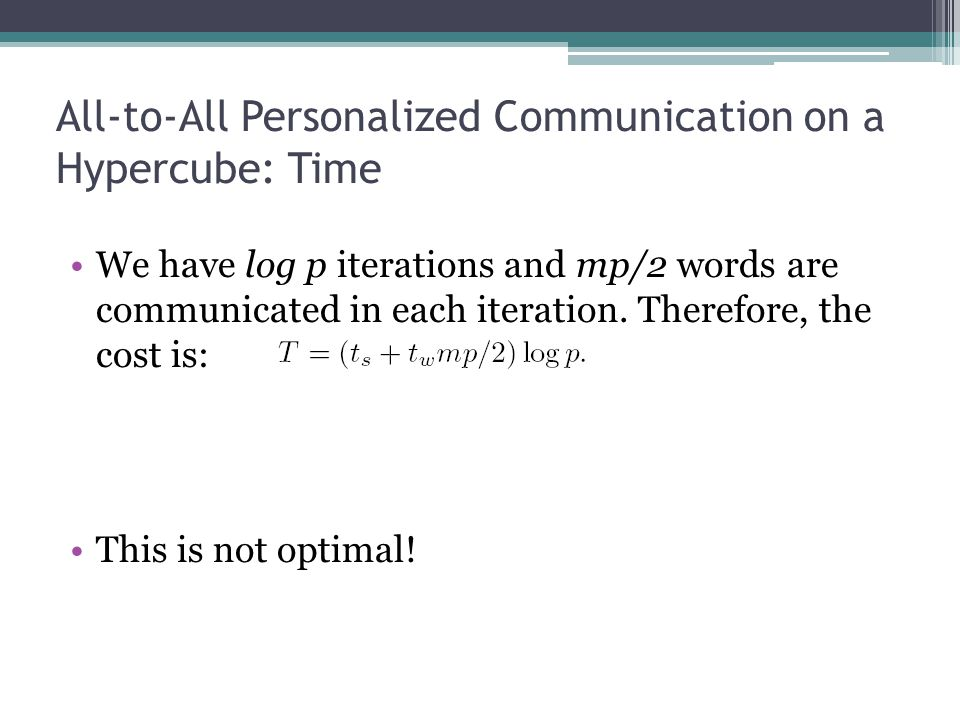 All-to-All Personalized Communication on a Hypercube: Time
