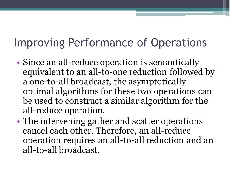 Improving Performance of Operations