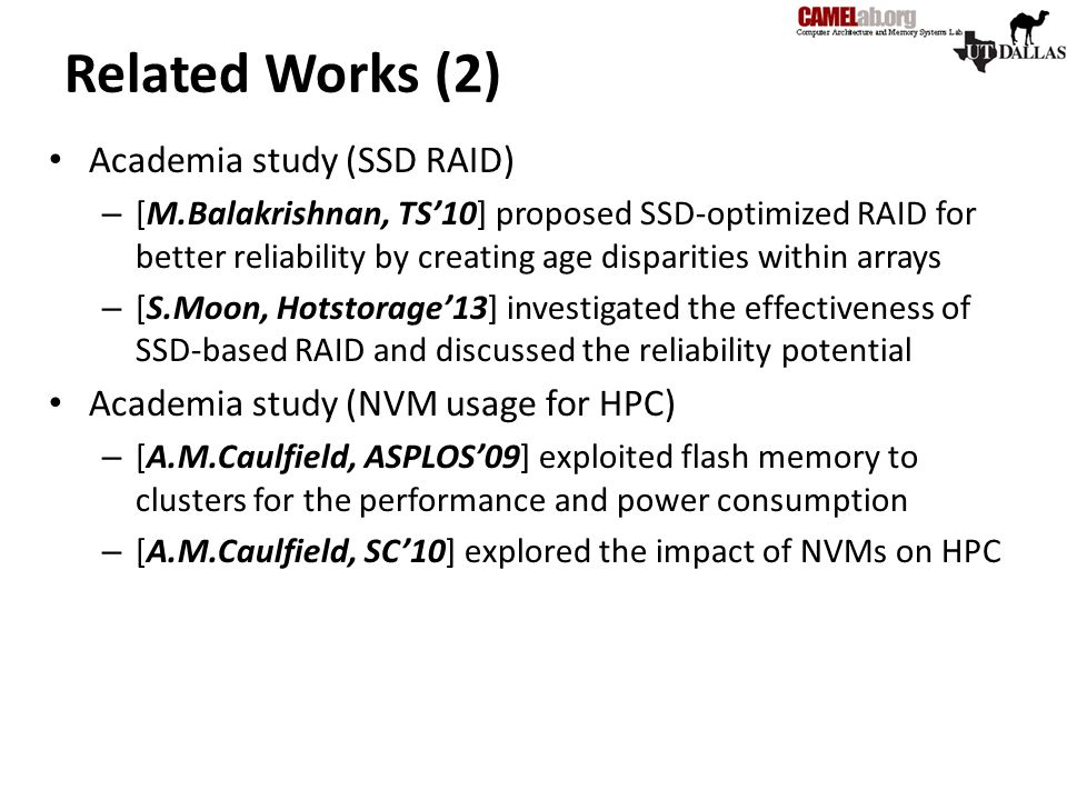 Related Works (2) Academia study (SSD RAID)