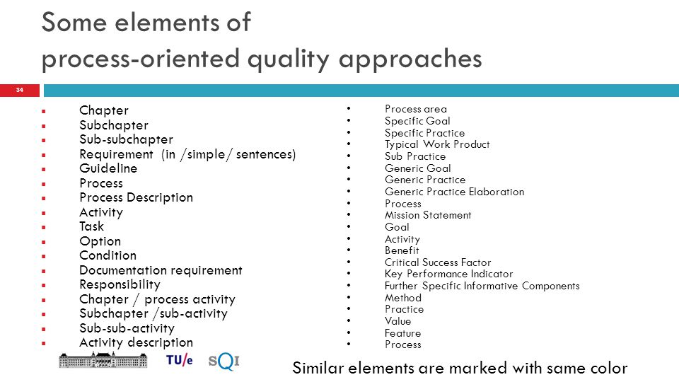 Some elements of process-oriented quality approaches