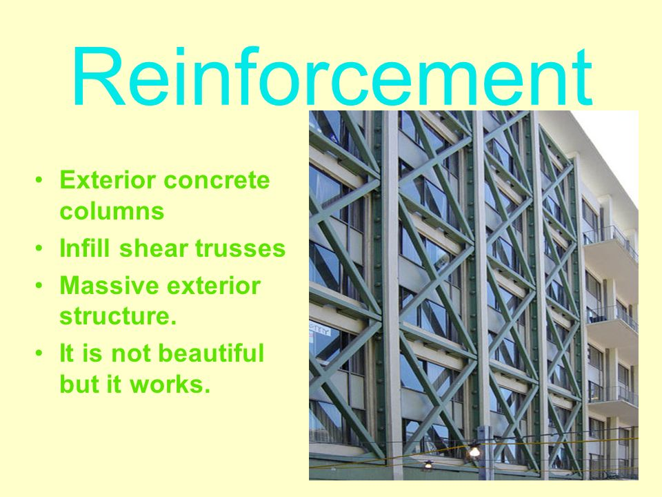Exterior concrete columns