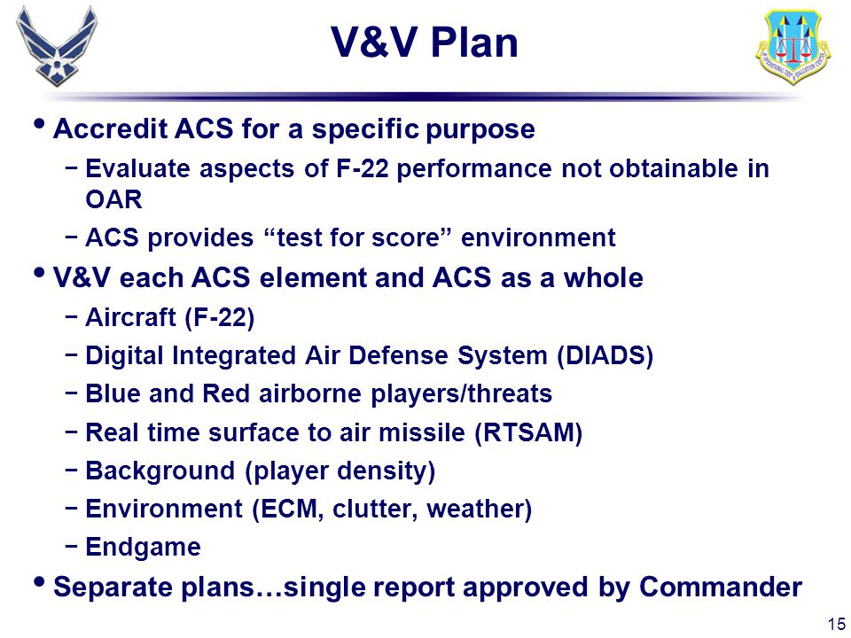 V&V Plan Accredit ACS for a specific purpose