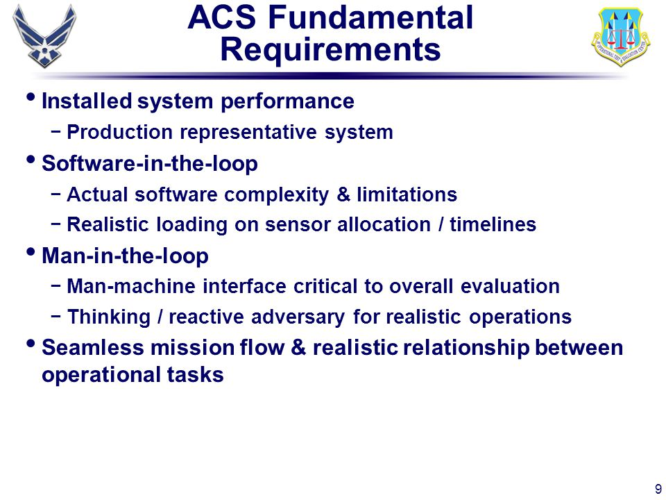 ACS Fundamental Requirements