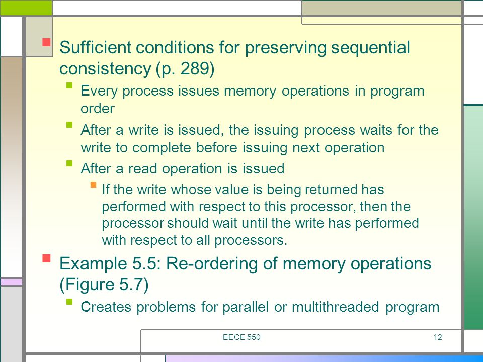 Sufficient conditions for preserving sequential consistency (p. 289)