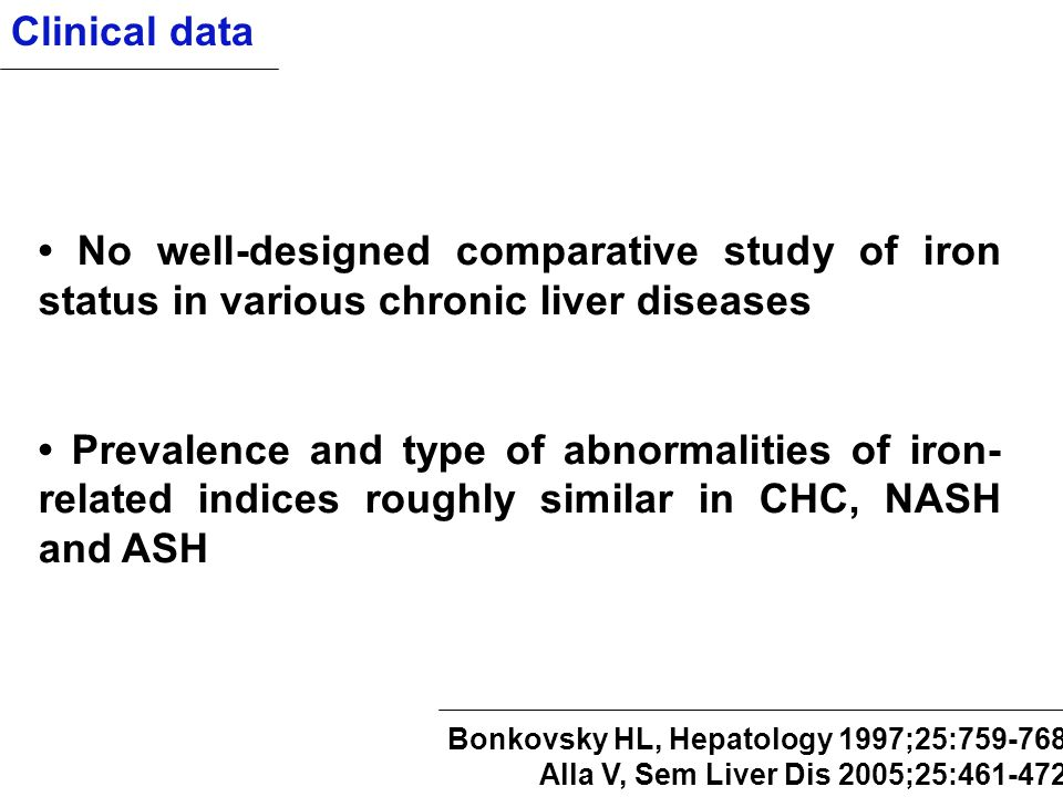 Clinical data • No well-designed comparative study of iron status in various chronic liver diseases.
