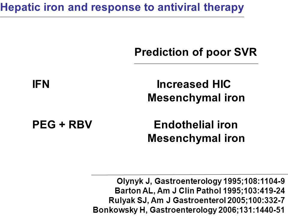 Hepatic iron and response to antiviral therapy