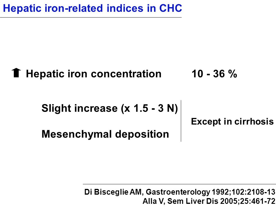 Hepatic iron-related indices in CHC