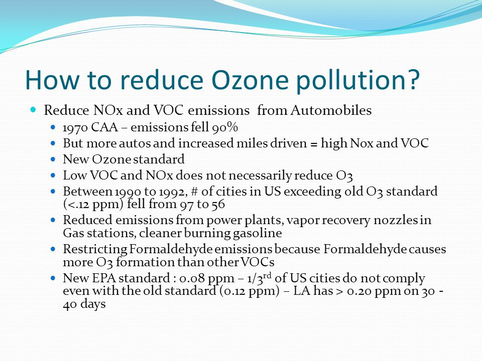 How to reduce Ozone pollution