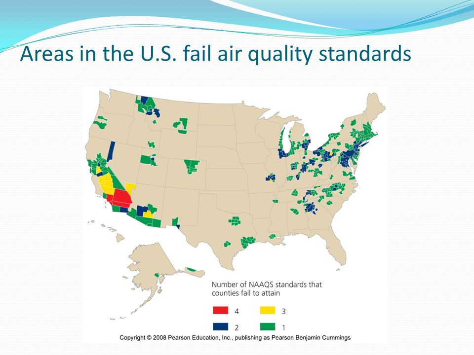 Areas in the U.S. fail air quality standards
