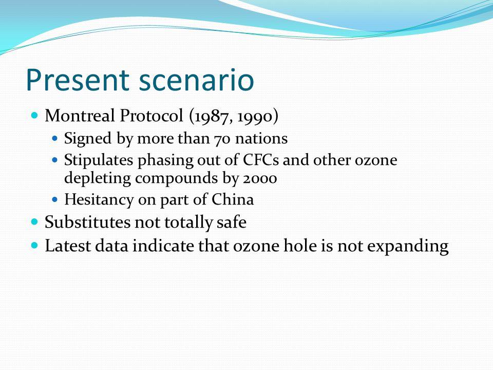 Present scenario Montreal Protocol (1987, 1990)