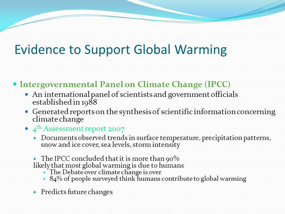 Evidence to Support Global Warming