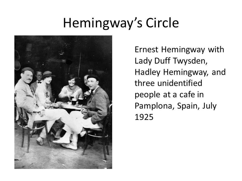 Hemingway's Circle Ernest Hemingway with Lady Duff Twysden, Hadley Hemingway, and three unidentified people at a cafe in Pamplona, Spain, July 1925.