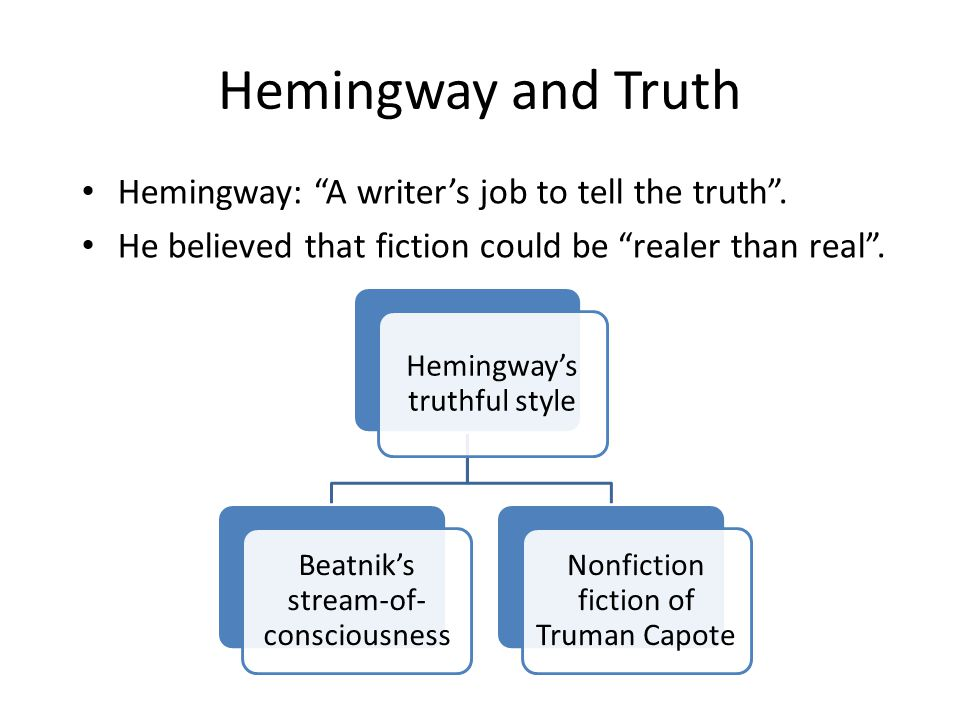 Hemingway and Truth Hemingway: A writer's job to tell the truth .