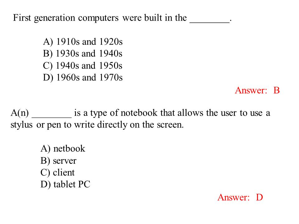 First generation computers were built in the ________.