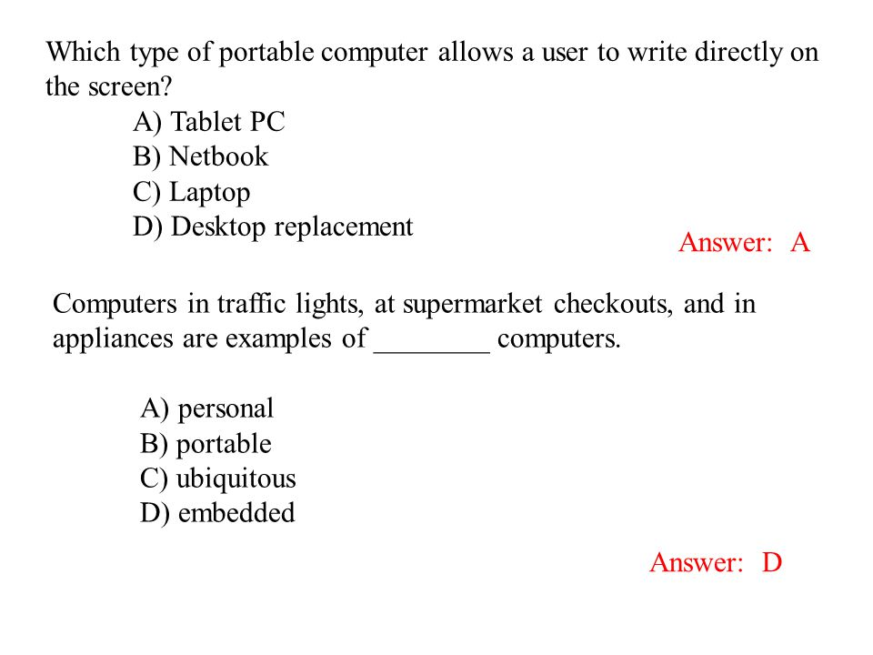Which type of portable computer allows a user to write directly on the screen