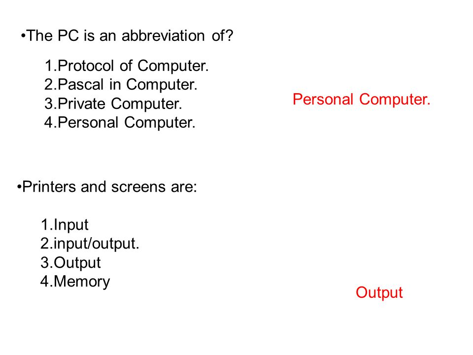 The PC is an abbreviation of