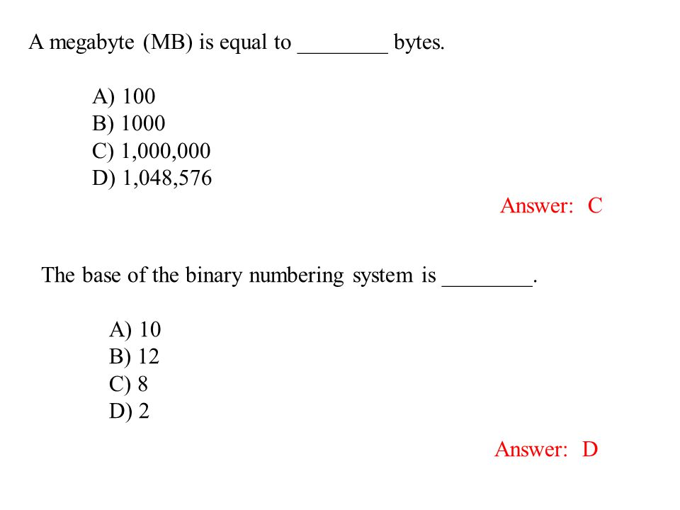 A megabyte (MB) is equal to ________ bytes.
