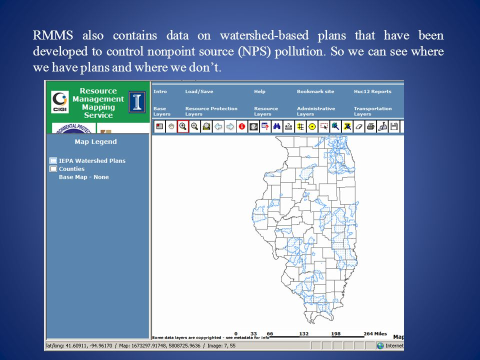 RMMS also contains data on watershed-based plans that have been developed to control nonpoint source (NPS) pollution.