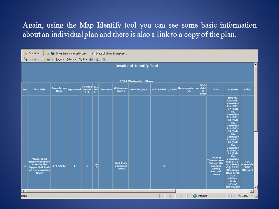 Again, using the Map Identify tool you can see some basic information about an individual plan and there is also a link to a copy of the plan.
