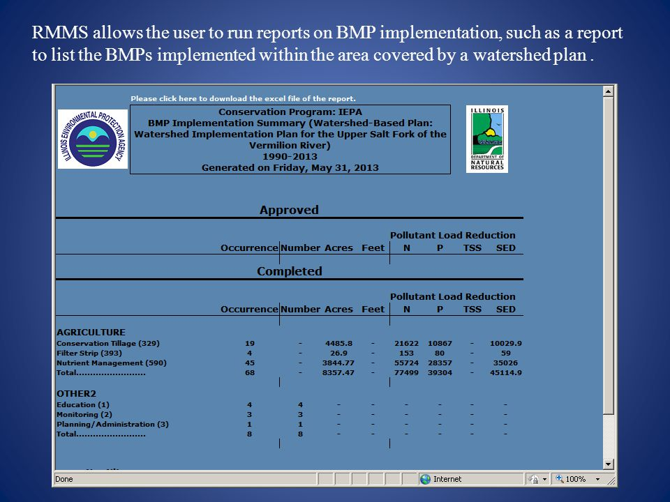 RMMS allows the user to run reports on BMP implementation, such as a report to list the BMPs implemented within the area covered by a watershed plan .