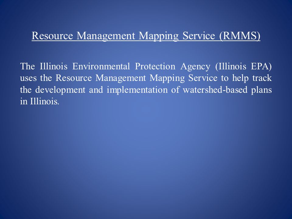 Resource Management Mapping Service (RMMS)