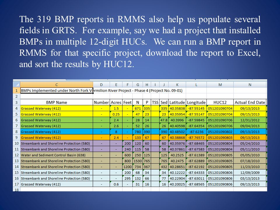 The 319 BMP reports in RMMS also help us populate several fields in GRTS.