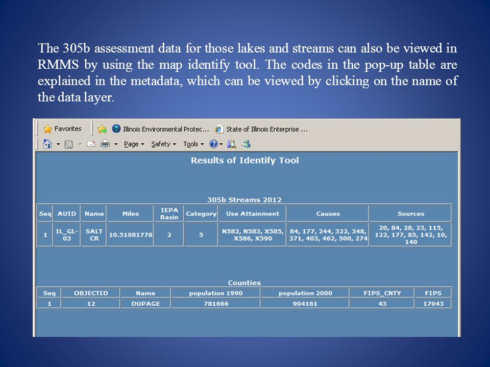The 305b assessment data for those lakes and streams can also be viewed in RMMS by using the map identify tool.