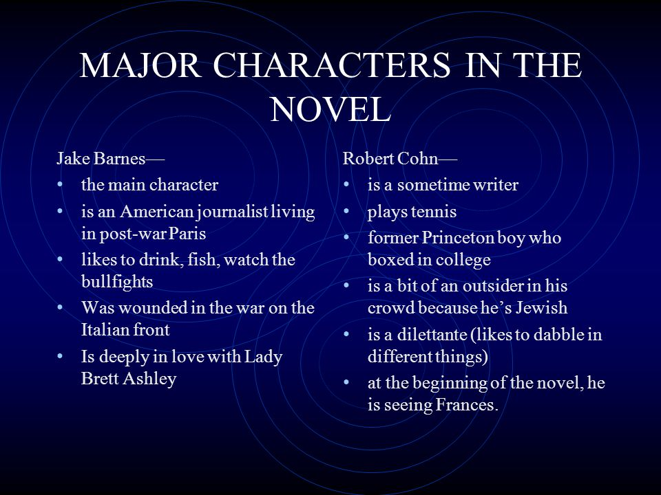 MAJOR CHARACTERS IN THE NOVEL