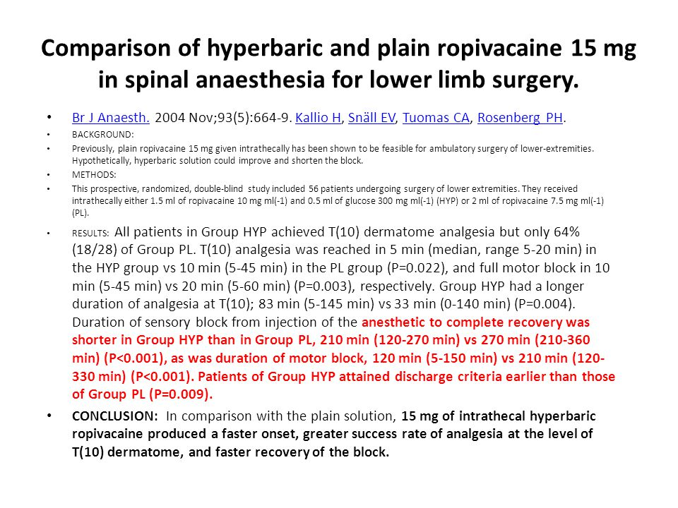 Comparison of hyperbaric and plain ropivacaine 15 mg in spinal anaesthesia for lower limb surgery.