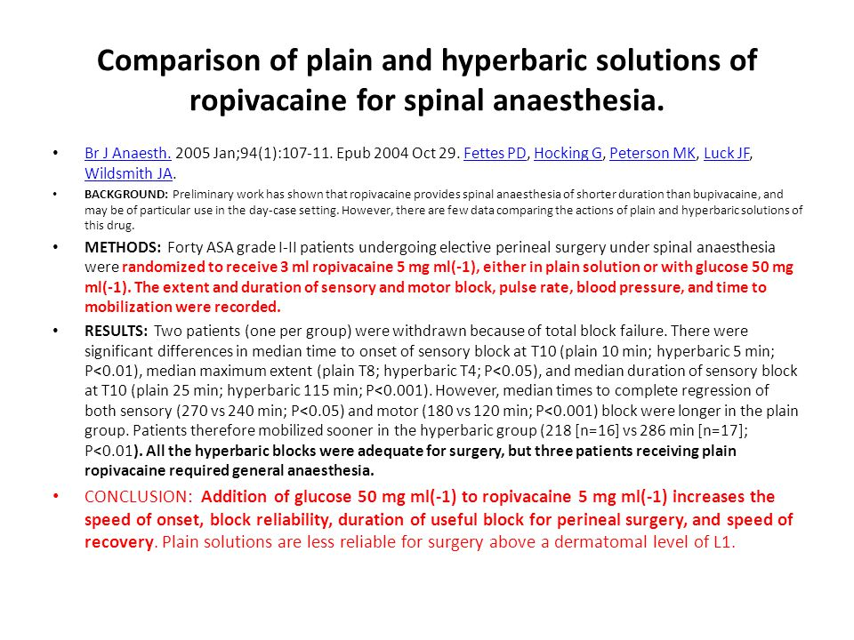 Comparison of plain and hyperbaric solutions of ropivacaine for spinal anaesthesia.