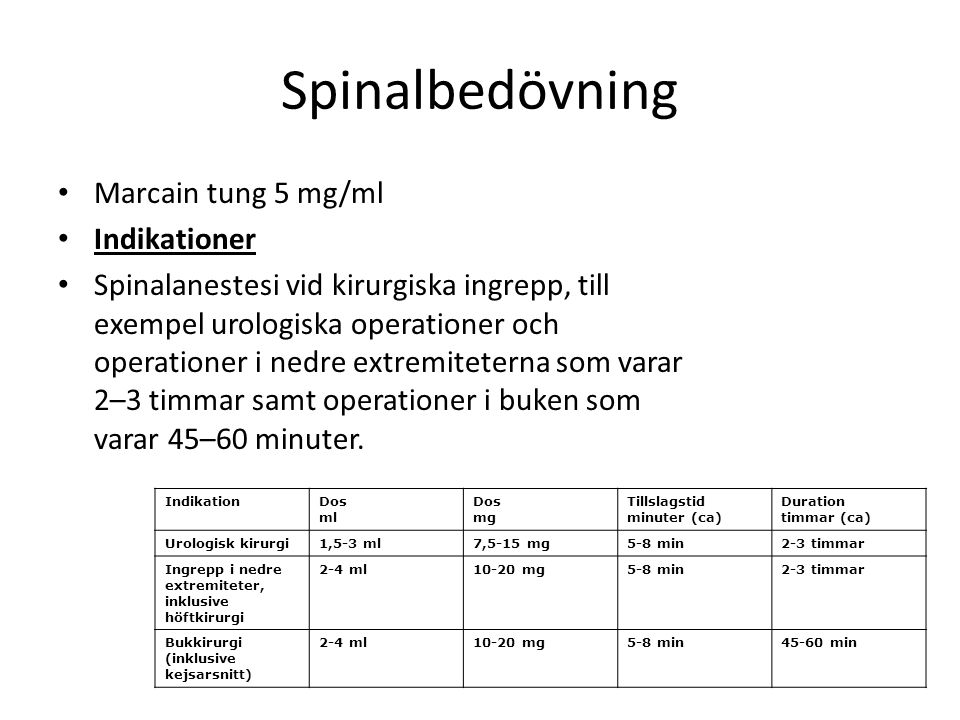 Spinalbedövning Marcain tung 5 mg/ml Indikationer