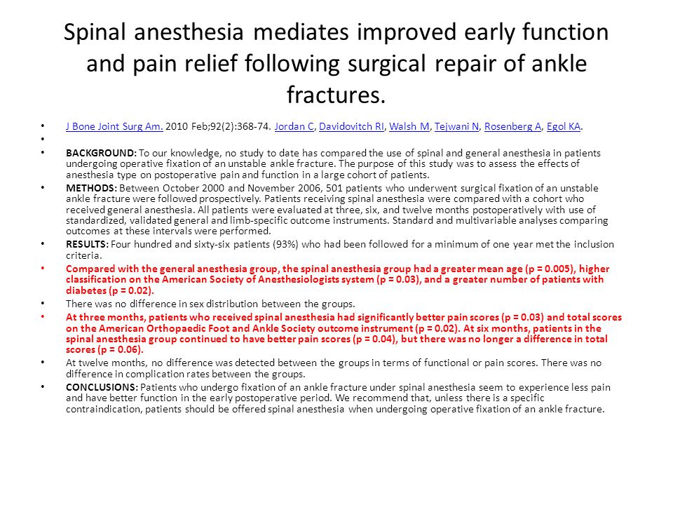 Spinal anesthesia mediates improved early function and pain relief following surgical repair of ankle fractures.