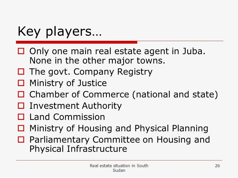 Real estate situation in South Sudan