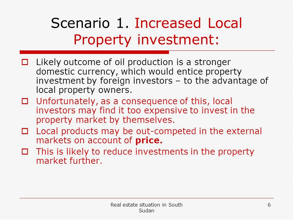 Scenario 1. Increased Local Property investment: