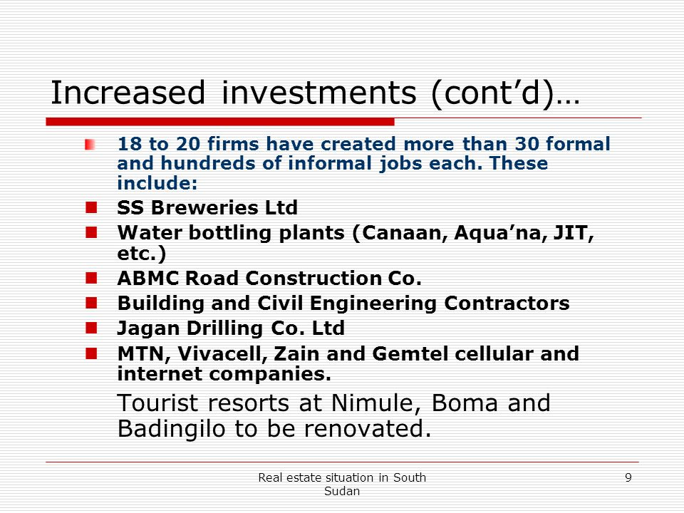 Increased investments (cont'd)…