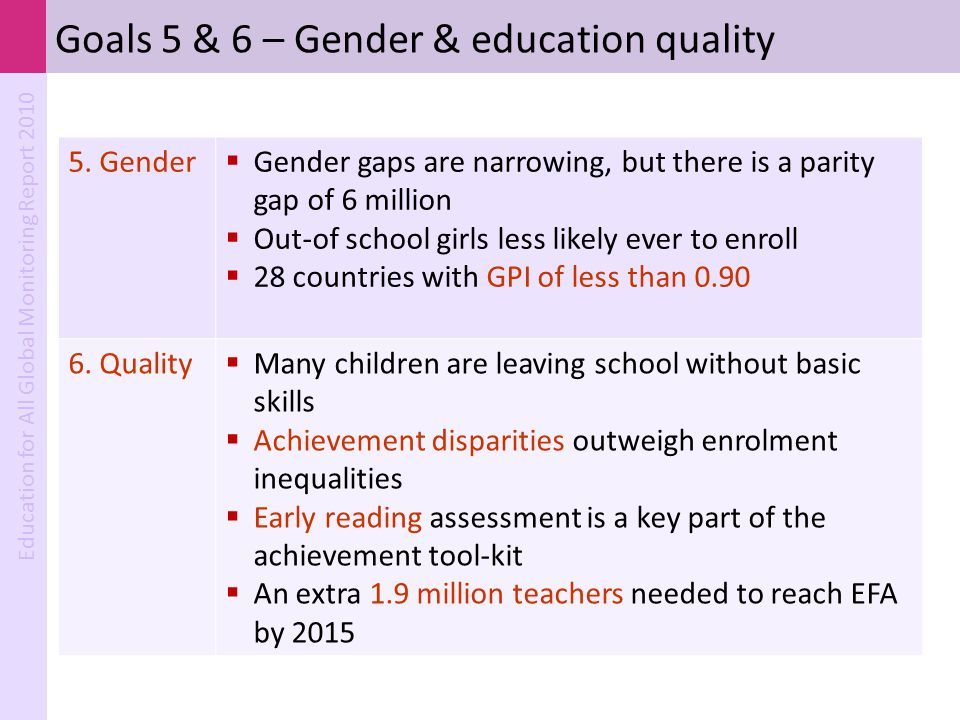 Goals 5 & 6 – Gender & education quality