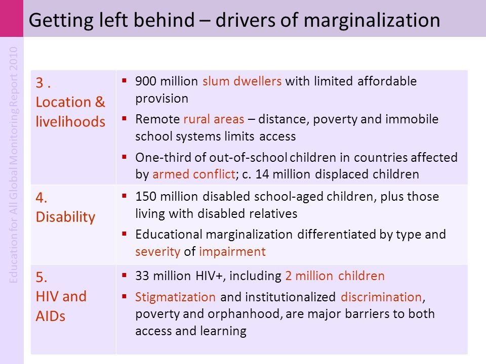 Getting left behind – drivers of marginalization