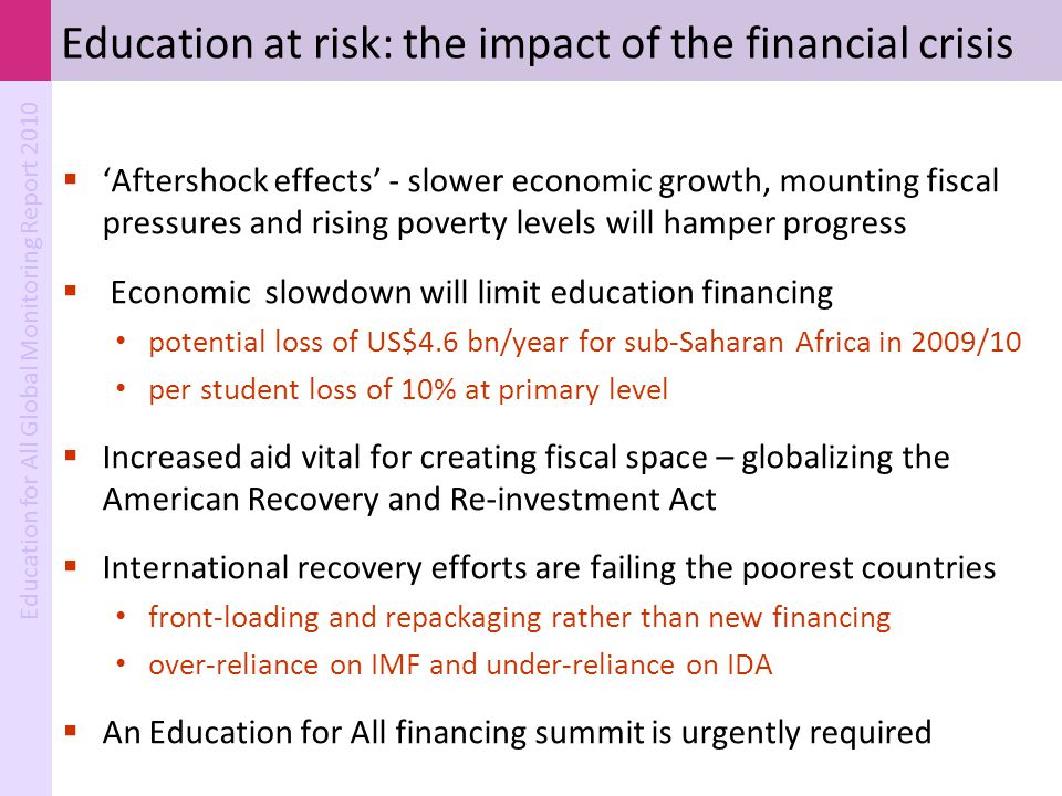 Education at risk: the impact of the financial crisis