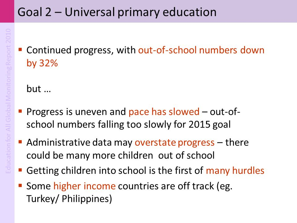 Goal 2 – Universal primary education