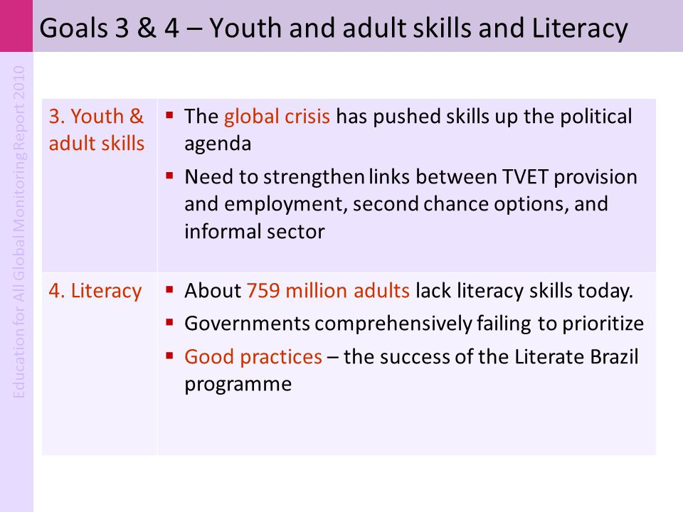 Goals 3 & 4 – Youth and adult skills and Literacy