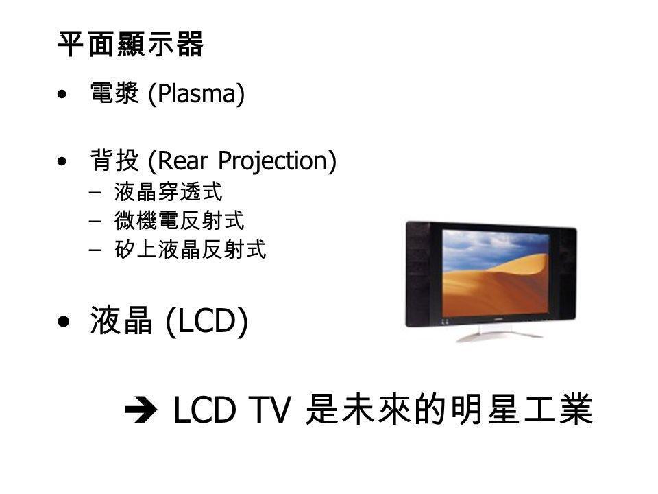 液晶 (LCD)  LCD TV 是未來的明星工業 平面顯示器 電漿 (Plasma) 背投 (Rear Projection)