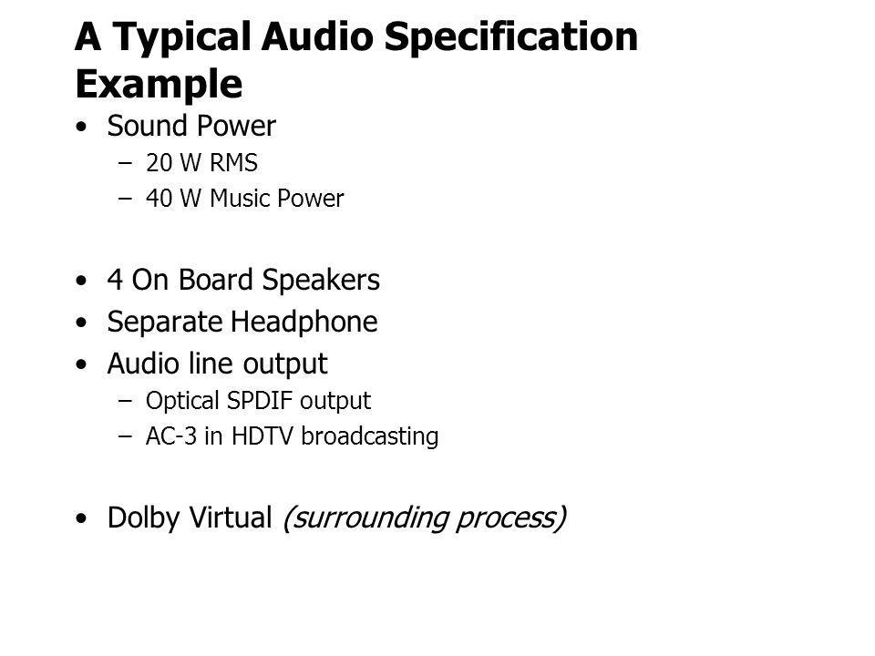 A Typical Audio Specification Example