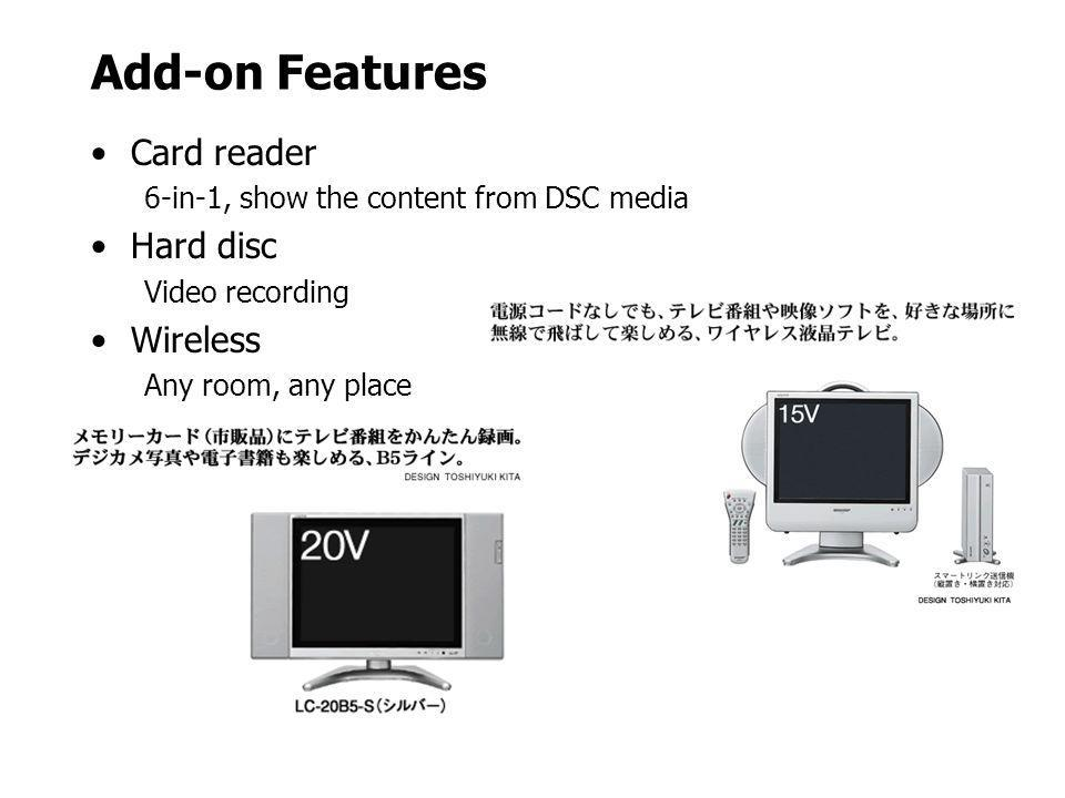 Add-on Features Card reader Hard disc Wireless