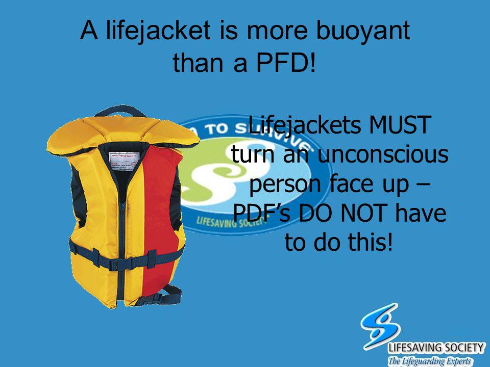 A lifejacket is more buoyant than a PFD!