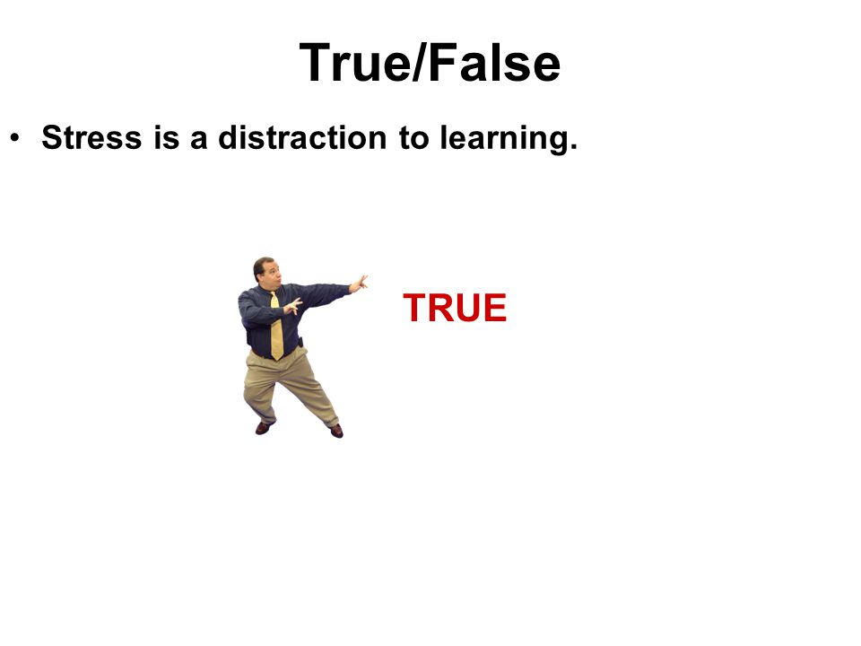 True/False Stress is a distraction to learning. TRUE