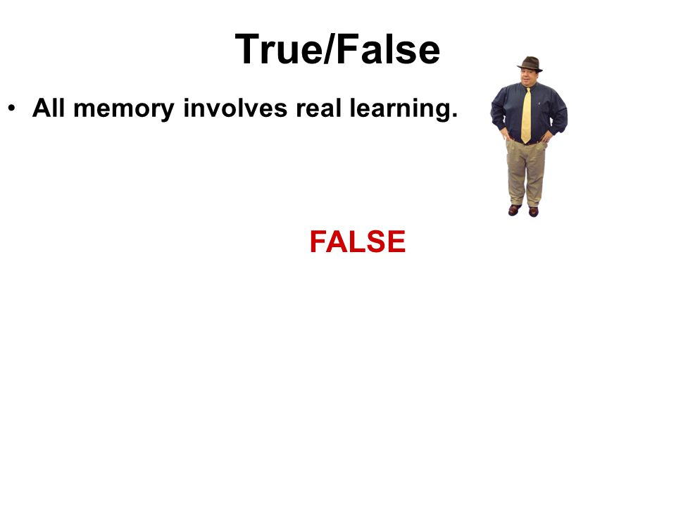 True/False All memory involves real learning. FALSE