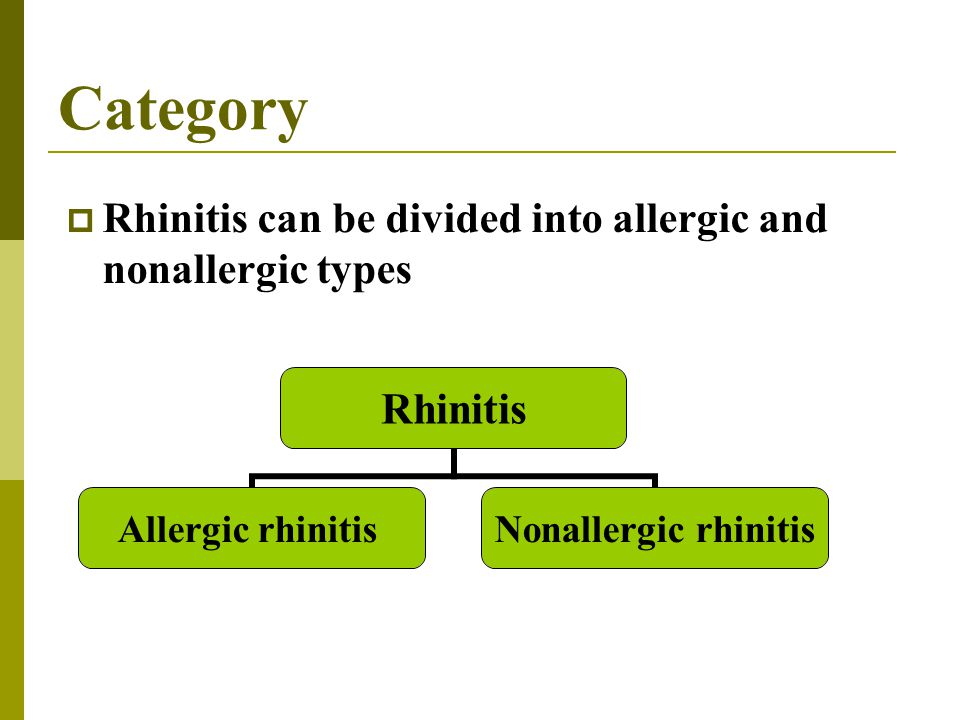 Category Rhinitis can be divided into allergic and nonallergic types