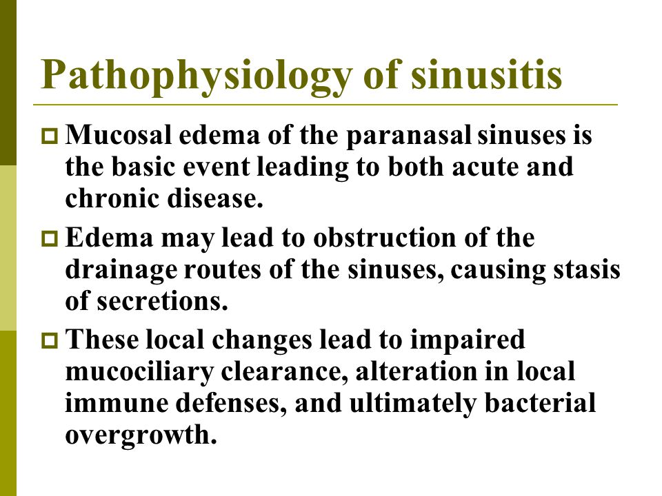 Pathophysiology of sinusitis