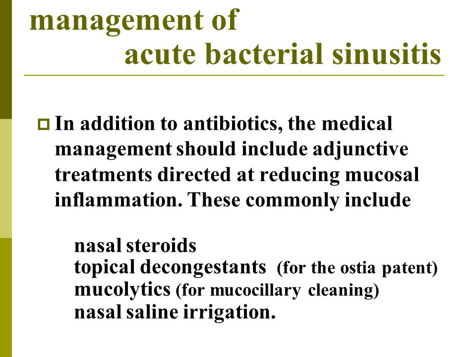 management of acute bacterial sinusitis